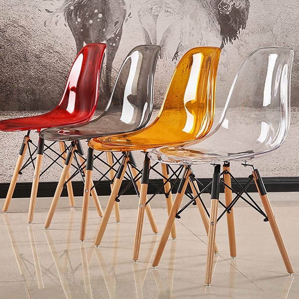 Siège En Plastique Lisse, Bois Massif soutien Base En Acier De Plein Air Jardin Café Salon Chaise De Négociation 43cm (Color : Red) Transparent