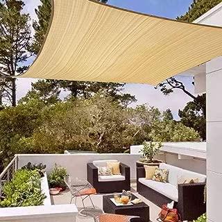Joyeyou Outdoor 8' x 8' Sun Shade Sail Rectangle Beige Color - HDPE Heavy Duty Shade Cloth,185 g/m2, 90% UV Block
