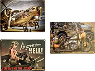 UNIQUELOVER 3PCS Military Theme Tin Signs, Stuff, Motorcycle & Pinup Girl Airplane Retro Vintage Metal Plaque Poster for Cafe Bar Pub Beer Club Home Wall Decor Art 12