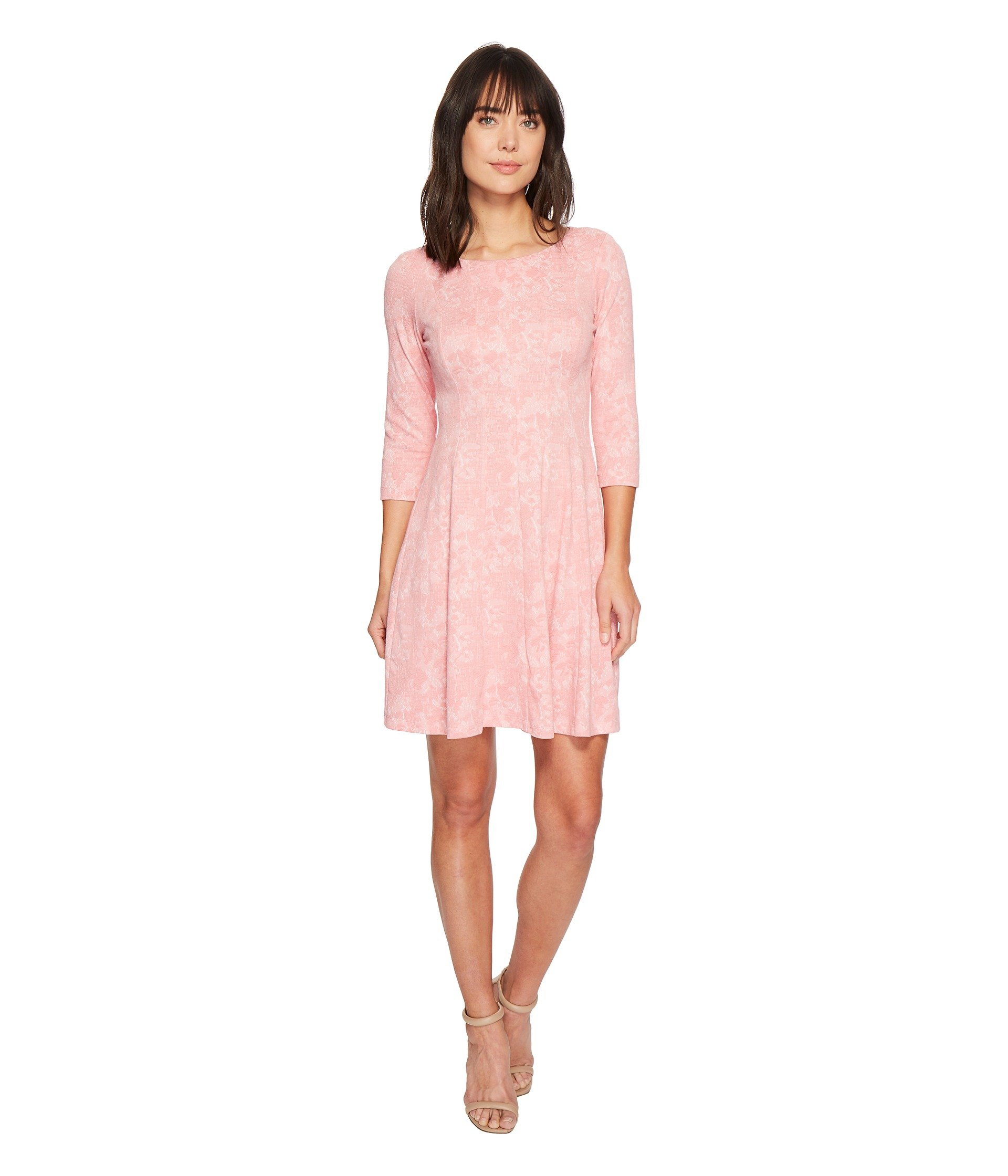 Fit-and-Flare Knit Jacquard Dress