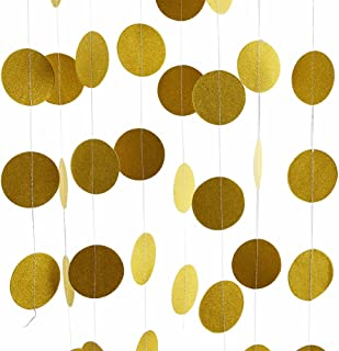 Threemart Gold Party Supplies Gold Glitter Grand Paper Dots Hanging for Bachelorette,Wedding, Birthday Party Decoration-4 Pack … (Gold)