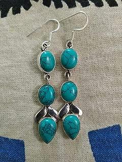 Turquoise Earrings, Sterling Silver Earrings, Long Earrings, Fine Jewelry, Statement Earrings, Gift For Her, Three Stone Earrings, Wedding & Engagement Earrings, Hypoallergenic Earring, Unique Earring