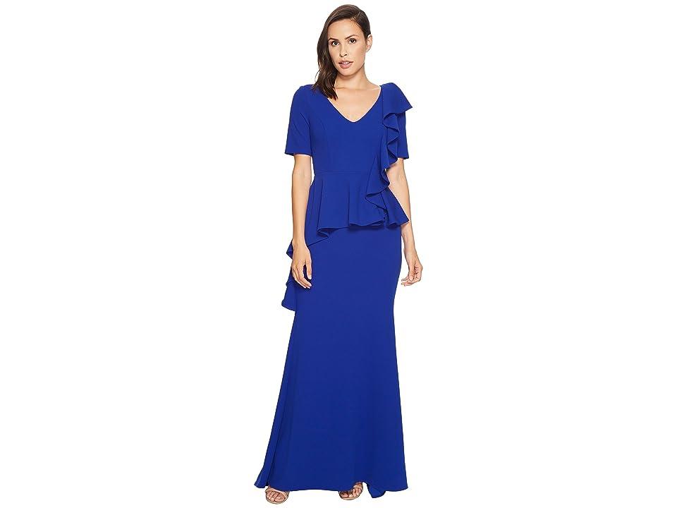 Badgley Mischka 1/2 Sleeve Gown w/ Peplum (Cobalt) Women