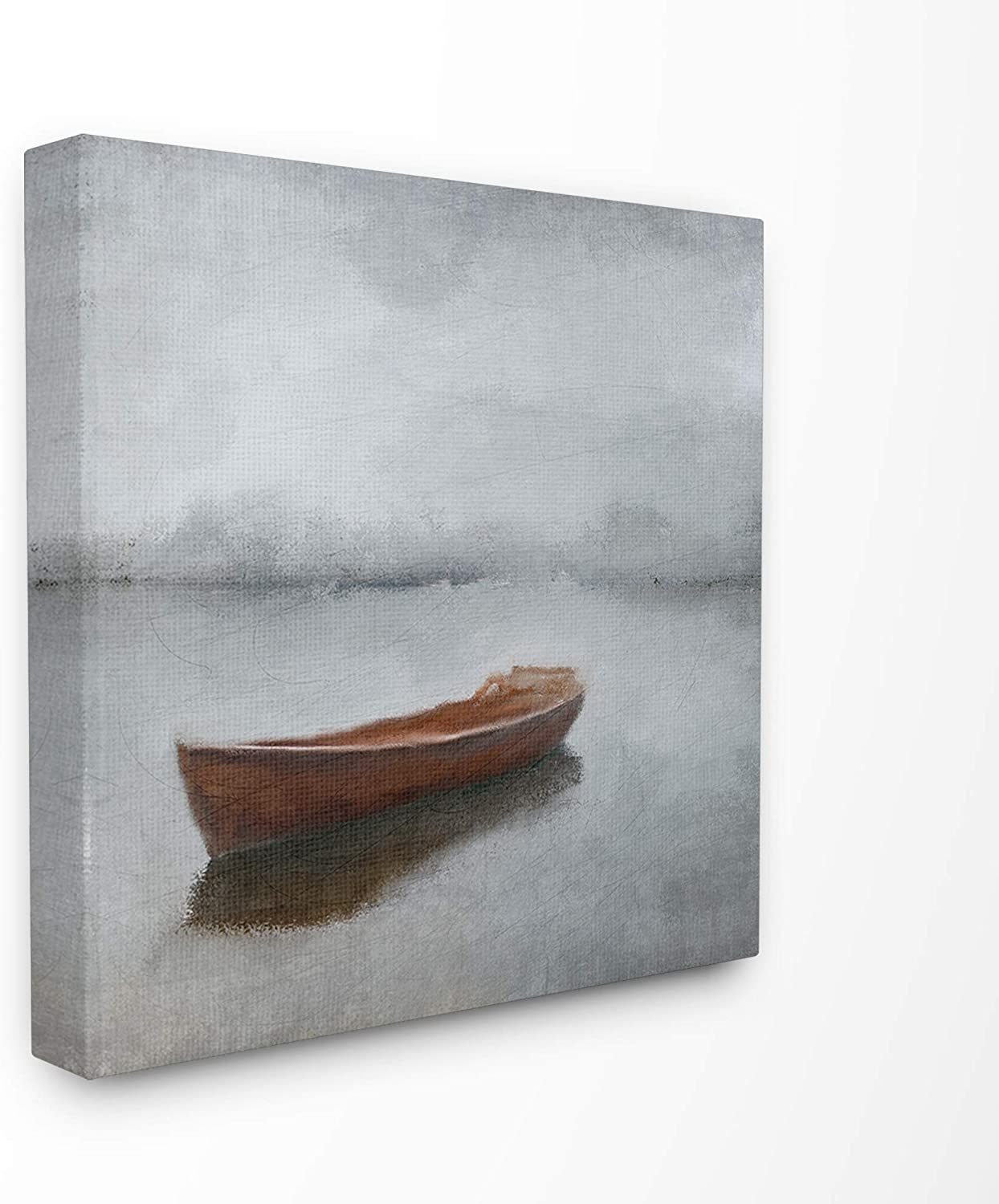 The Stupell Home Decor Calm Sea Soft Grey Horizon with Red Boat Stretched Canvas Wall Art 17 X 17 Multicolor