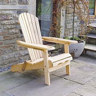 Trueshopping Silla de Jardín Adirondack - Silla con Respaldo Curvo y Soporte para Las Piernas - Muebles de Jardín, Césped y Terrazas al Aceite