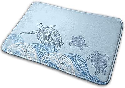 Door Mats Turtle Print Turtle Print Blue White Sun Sea Floor Mat Indoor Outdoor Entrance Bathroom Doormat Non Slip Washable Welcome Mats Decor 23.6 x 15.7 inch