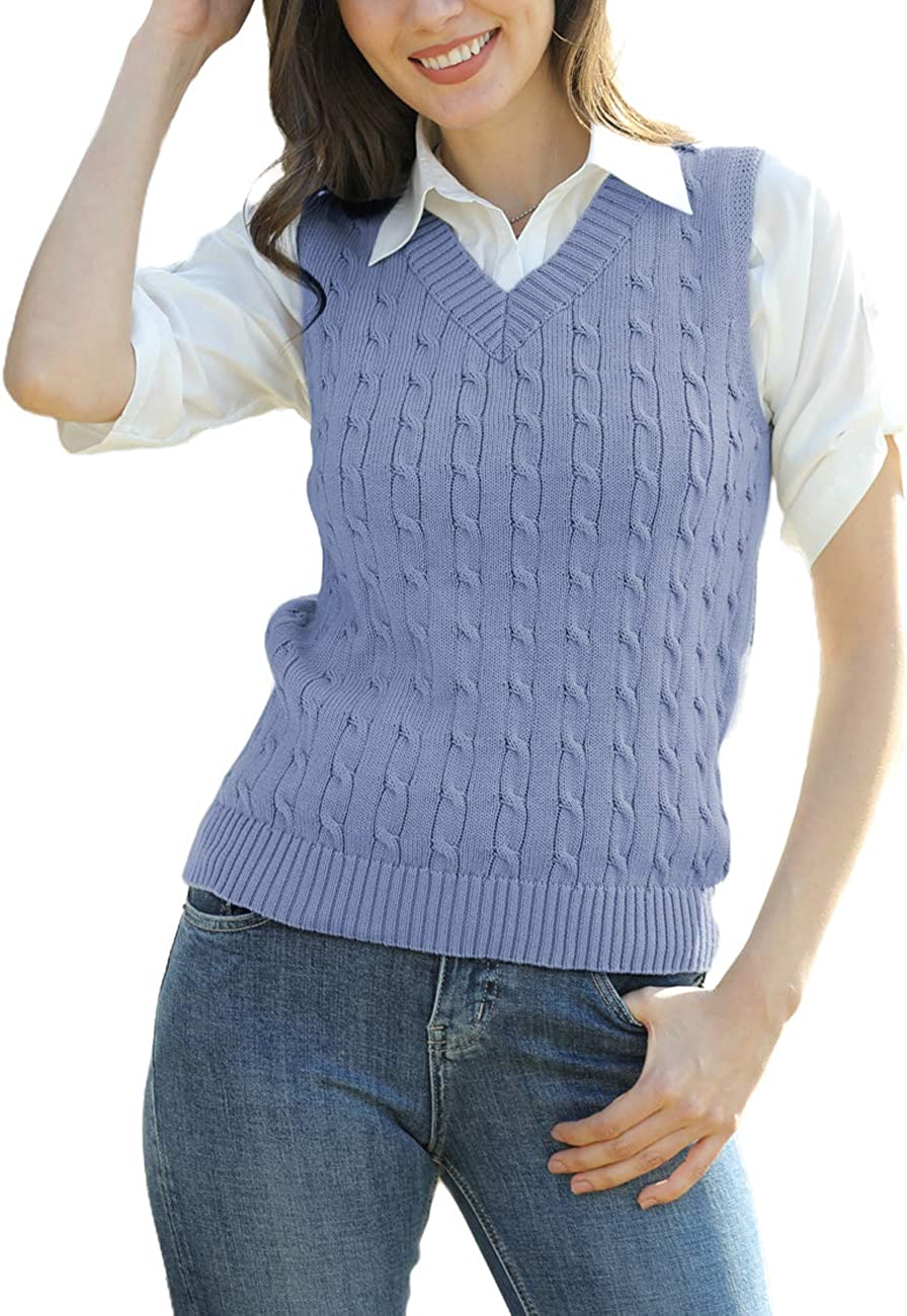 ASUOAgio Women's Sweater Vest V Neck Casual Sleeveless Cable Knitted Pullover Sweaters