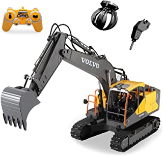 Mostop 3 in 1 Remote Control Excavator with 2 Tools 2.4G Construction Truck with Sounds 660 ° Rotation Toy for Kids