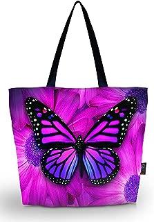 ICOLOR Big Butterfly Eco Friendly Reusable Eco-friendly Shopping Bag Handle case Bag School Shopping Large Grocery shoulder bag Reusable Portable Storage HandBags Convenient Shoppers Tote YGWB-45