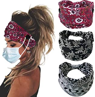 Bohend Boho Button Headband Wide Stretchy Daily Use Knotted Headwear Sport Athletic Yoga Gym Hair Accessories for Women and Girls(3pcs) (E)