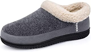 ULTRAIDEAS Men's Warm Memory Foam Slippers with Wool-Like Collar & Polar Fleece Lining, Suede House Shoes Indoor/Outdoor