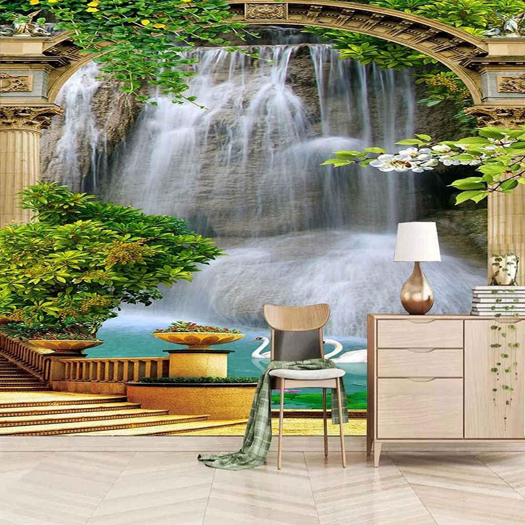 HWCUHL Wall 5 ☆ very popular Stickers Kids Bedroom Waterfall Scenery Garden Sale Canva