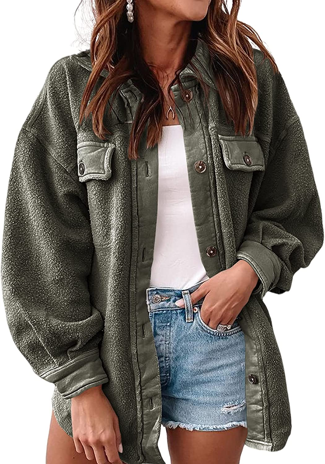 Newffr Womens 55% OFF Button Down Shacket New product type Jacket Breasted Single Trench