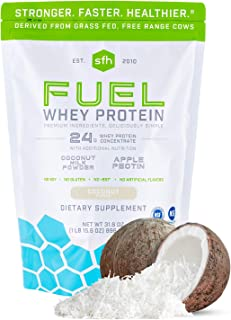 Fuel Whey Protein Powder by SFH   Great Tasting Grass Fed Whey   MCTs & Fiber for Energy   All Natural   Soy Free, Gluten ...