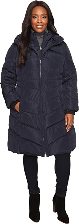 Plus Size Chevron Quilted Poly Down Coat with Hood