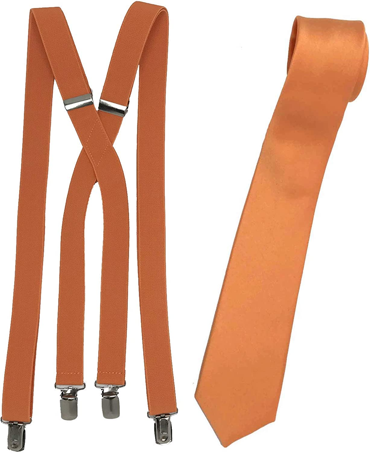 Spencer J's Skinny Neck Tie and Suspender Set- Variety of Colors