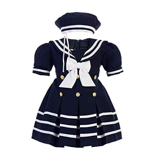 3265bc06b Bello Giovane Baby Toddler Girls Nautical Sailor Outfit Dress 4 Piece Set