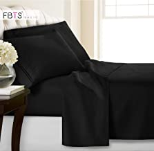 FBTS Basic Bed Sheets Set 4 Piece, 1800 Series Hypoallergenic Egyptian Luxury Bedding Sets Microfiber Soft Bedsheets King Black