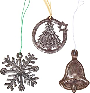 Global Crafts Recycled Haitian Metal Art Christmas Ornaments, Christmas Icons - Tree, Bell, Snowflake, Hammered Silver, Set of 3 (HMDORN-XMS-A-K3)
