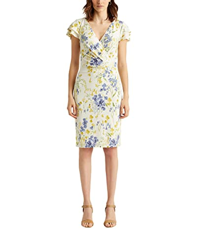 LAUREN Ralph Lauren Floral Jersey Surplice Dress Women