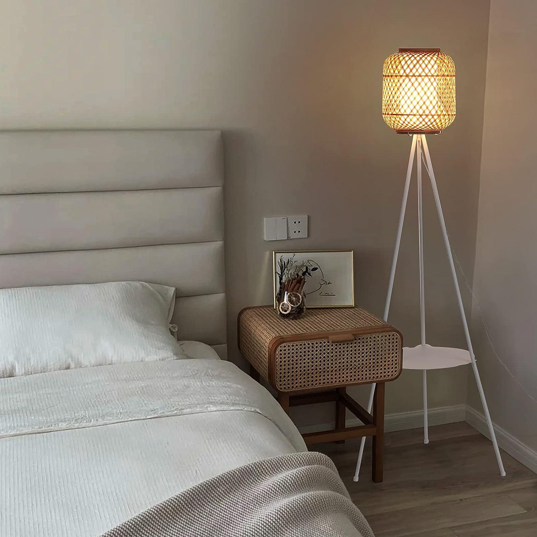 rattan tripod floor lamp