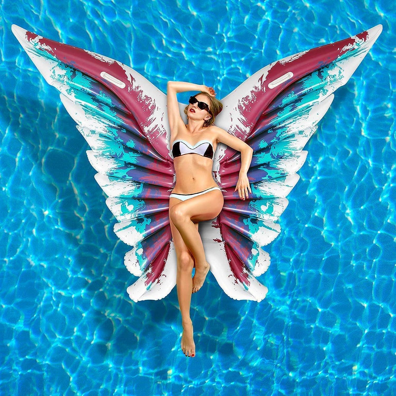 LIBOYUJU Luftmatratze Wasser Aufblasbare Pool Float Angel Wings Aufblasbare Schwimmflo PVC Pool Liege für Sommer Schwimmbad Party Schmetterling Form