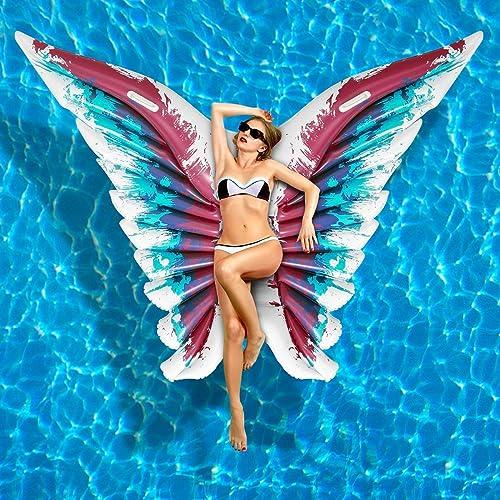 Luftmatratze Wasser Aufblasbare Pool Float Angel Wings Aufblasbare Schwimmflo VC Pool Liege für Sommer Schwimmbad Party Schmetterling Form