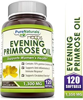 Pure Naturals Evening Primrose Oil with 10% GLA, 1300 Mg, 120 Softgels Contains 10% Gamma –Linolenic Acid, Supports Anti- Inflammation and Balances Immune Response, Supports Circulatory Function