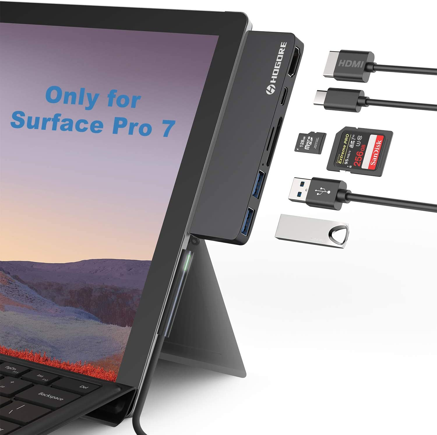 Surface Pro 7 Dock, HOGORE 6-in-2 Surface Pro 7 USB C Hub Adapter with 4K HDMI, USB C PD charging, 2USB3.0,SD/MicroSD Card Reader, Microsoft Surface Pro 7 Accessories, MS Surface Pro 7 Docking Station