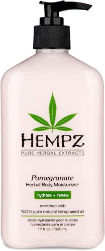 Hempz Pomegranate Herbal Body Moisturizer 17 oz. - Paraben-Free Lotion and Moisturizing Cream for All Skin Types, Ant...