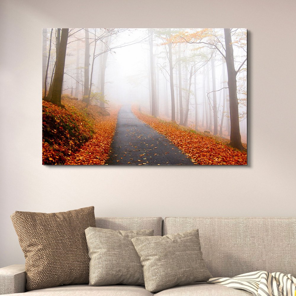 Amazon Com Wall26 Canvas Wall Art Quiet Lane In The Woods With Fallen Leaves In Autumn Giclee Print Gallery Wrap Modern Home Art Ready To Hang 32x48 Inches Posters Prints