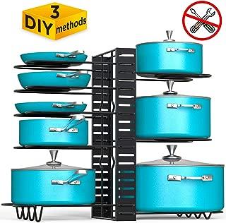 Vdomus Pot Rack Organizer with 3 DIY Methods, Black Metal Kitchen 8+ Pots Holder, Height and Position are Adjustable Cabinet Pantry Pot Lid Holder (Upgraded)