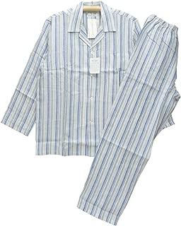 Lサイズ[春夏] 紳士長袖・長ズボンパジャマ(Amour アムール メンズ) 麻100%リネン テーラー襟/全開