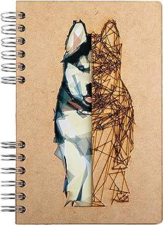 KOMONI - Carnet en bois - Papier recyclé - Bullet Journal - Livre de recettes - Husky (Gelinietere, A6)