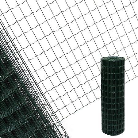 mewmewcat Drahtgeflecht Maschendrahtzaun mit PVC-Beschichtung Hundezaun Katzenzaun H/ühnerzaun 0,5 m H/öhe 10 m Rolle Gr/ün