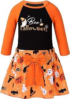 Aislor Ensemble Bébé Filles Mon 1er Halloween Barboteuse Haut Tee Shirt Manches Longue + Tutu Bloomers + Bandeau + Jambièr...