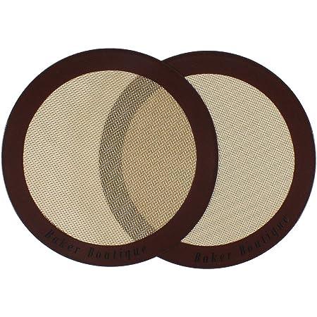 Baker Boutique Lot de 2 tapis de cuisson en silicone ronds (22,9cm de diamètre), anti-adhésifs, réutilisables, tapis à pâtisserie multi-usages