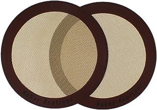 Baker Boutique Lot de 2 tapis de cuisson en silicone ronds (22,9cm de diamètre), anti-adhésifs, réutilisables, tapis à pâ...