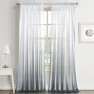 Dreaming Casa Gradient Ombre Sheer Curtains Draperies Window Treatment Voile for Living Room Kid's Room 84 Inches Long Rod Pocket (52