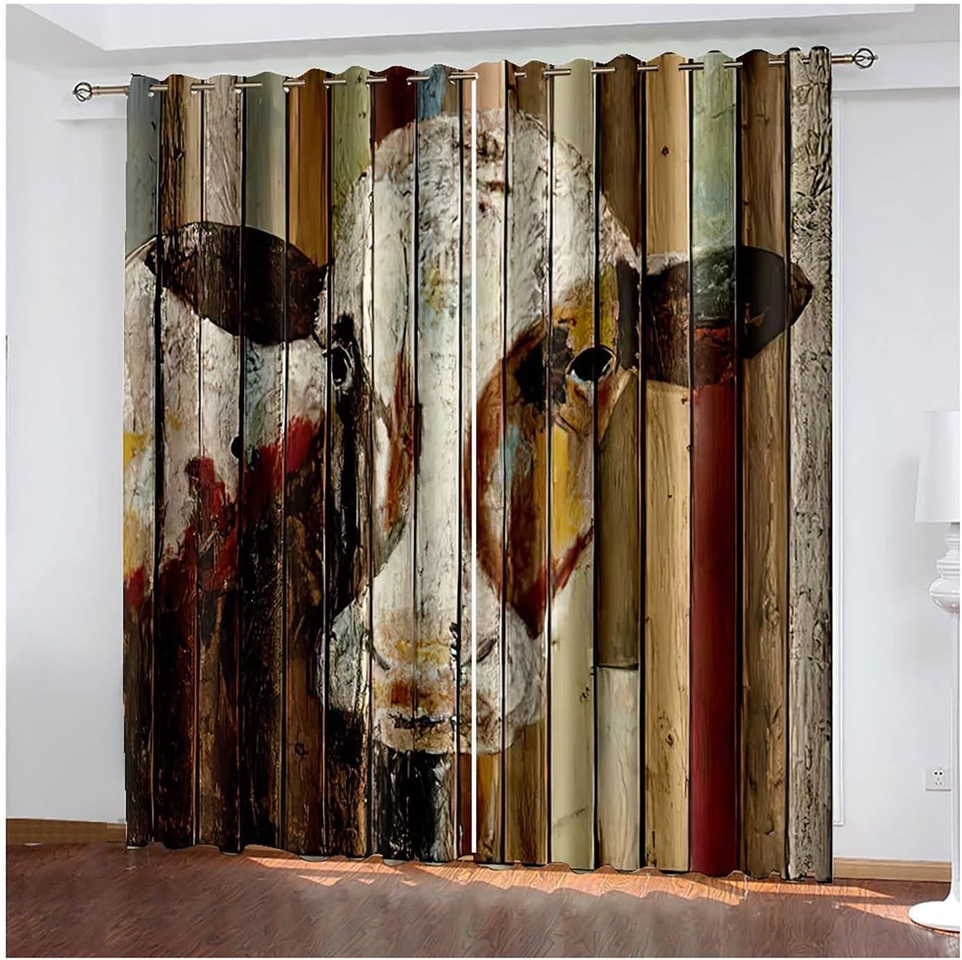 Curtains 2 Panels Blackout for Award-winning store Design Cow Patt Bedroom Popularity