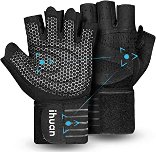 Updated 2021 Ventilated Weight Lifting Gym Workout Gloves Full Finger with Wrist Wrap..