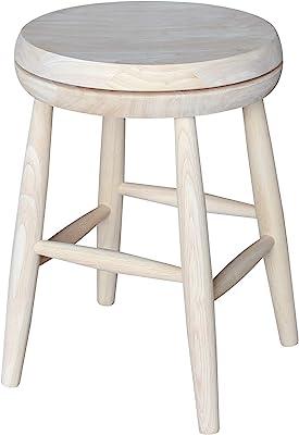 International Concepts Swivel Stool Barstool, 18 inch, Unfinished