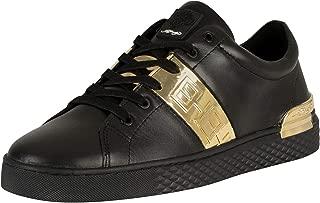 ED HARDY Men's Stripe Low Top Metallic Leather Trainers, Black, 9 US