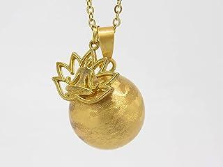 Bola de Grossesse Personnalisable Couche Or Brossé Nacré Fleur de Lotus et Méditation Cadeau Future Maman de Grossesse F d...