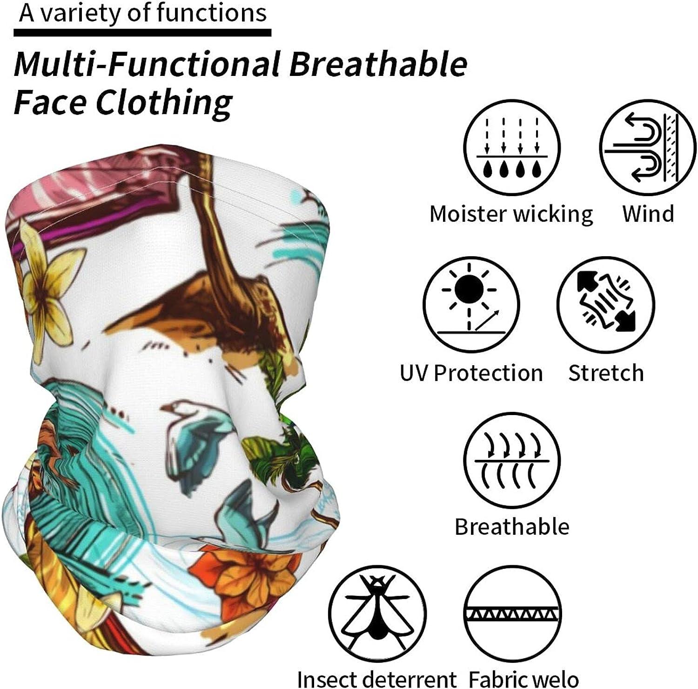 Hawaiian Palms Flowers Neck Gaiter Multipurpose Headwear Ice Silk Mask Scarf Summer Cool Breathable Outdoor Sport 2 PCS