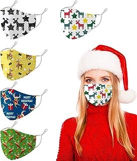 Reusable Christmas Santa Clause Cloth Face Cover Mask Breathable, Pretty Fashion Elk Decoration Bandana Printed for Women Men