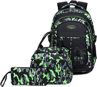 Kids Boys Backpacks Elementary School Camouflage Bookbag 3pcs Set with Lunch Bag (Green)