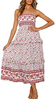 ZESICA Women's Summer Bohemian Floral Printed Strapless Beach Party Long Maxi Dress