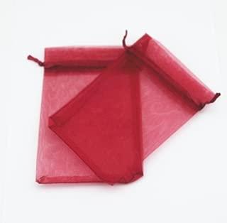 AEAOA 4x6 Inch Organza Bags Drawstring Wedding Favor Bags Organza Gift Pouches Bags for Wedding Jewelry Party (50 Pieces, Burgandy/Dark Red)