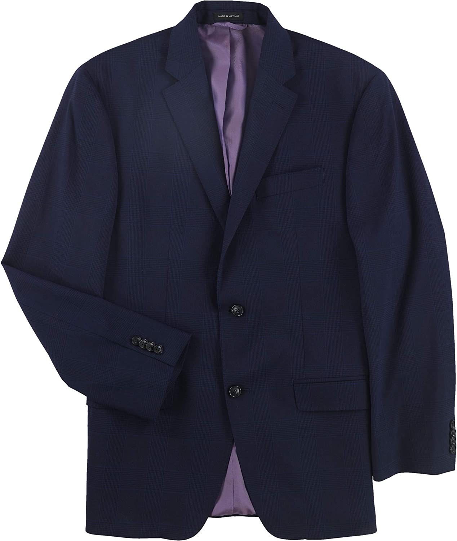 Sean John Mens Classic Two Button Blazer Jacket, Blue, 38 Regular
